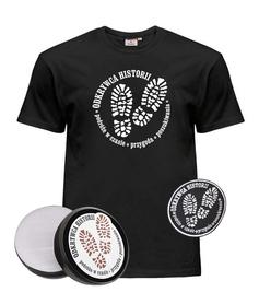 Zestaw z logiem Odkrywcy Historii. Koszulka, pudelko na monety i emblemat haftowany.